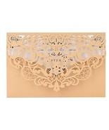 Gold Laser Cut Wedding Invitations Kit FOMTOR Lace Wedding Invitations w... - $44.14