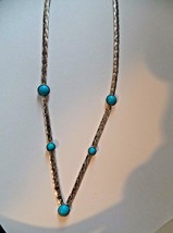 VINTAGE SARA COVENTRY TURQUOISE AND SILVER-TONE V Shaped NECKLACE  - $18.31