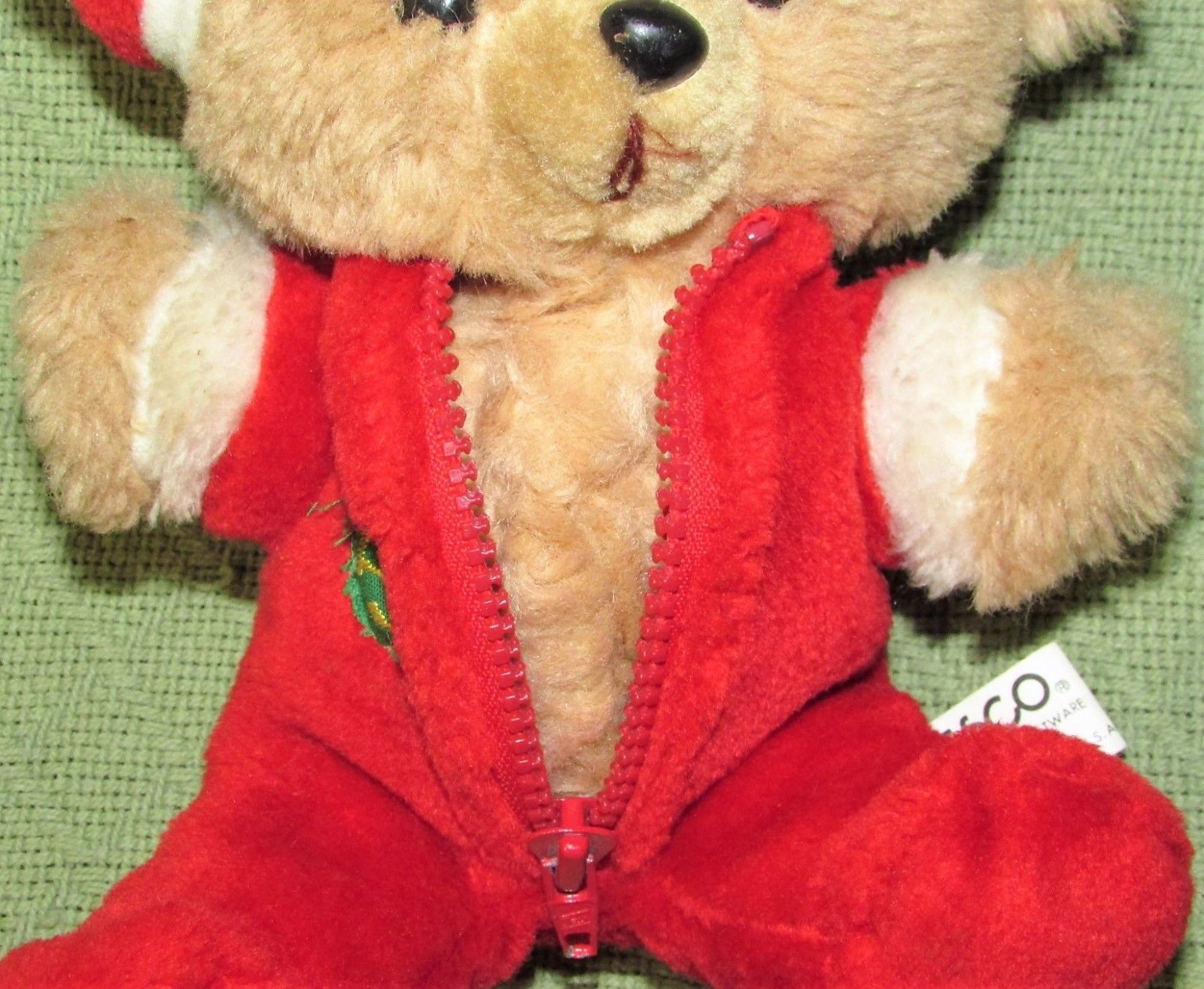 "10"" Vintage ENESCO PJ TEDDY Plush Bear BABY'S FIRST CHRISTMAS Stuffed KOREA RARE image 8"