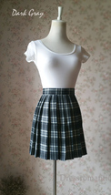 Black and White Plaid Skirt Mini Pleated Plaid Skirt Outfit A-line High Waisted image 10