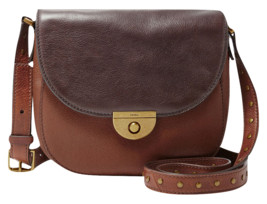 NEW FOSSIL WOMEN'S EMI LEATHER SADDLE CROSSBODY SHOULDER BAG BROWN MULTI - $170.42 CAD