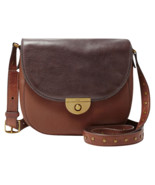 NEW FOSSIL WOMEN'S EMI LEATHER SADDLE CROSSBODY SHOULDER BAG BROWN MULTI - $128.65