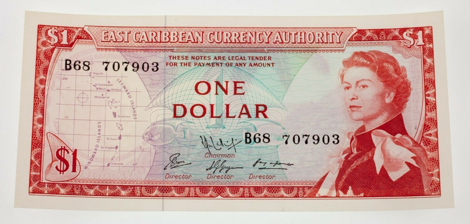 1965 East Caribe Moneda Authority Nota Recoger #13e que No Ha Circulado