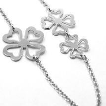 Necklace Silver 925, Four-Leaf Clover Lucky, Long 85 cm, by Maria Ielpo image 3
