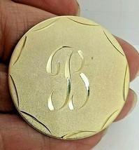 """VINTAGE GOLDTONE LADIES ROUND DISC INTIAL """"B"""" PIN - $9.49"""