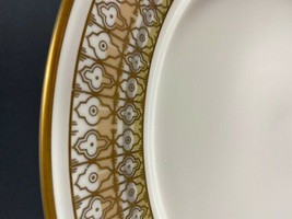 "Retired Mikasa Lacerna 7"" Salad Plate Bone China-Gold Silver Green-8 Ava... - $7.92"