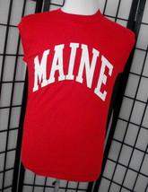Maine red sleeveless muscle Screen Stars white tag adult tee shirt mediu... - $18.95