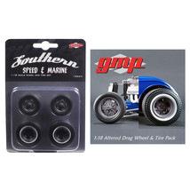 Drag Wheels and Tires Set of 4 Magnesium Finish from 1934 Altered Drag C... - $23.07