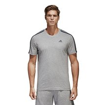 adidas Sport Performance Men's Essentials 3-Stripe T-Shirt, Medium Grey, L