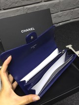 BNIB AUTH CHANEL BLUE QUILTED LAMBSKIN LARGE TRI-FOLD WALLET CLUTCH  image 7