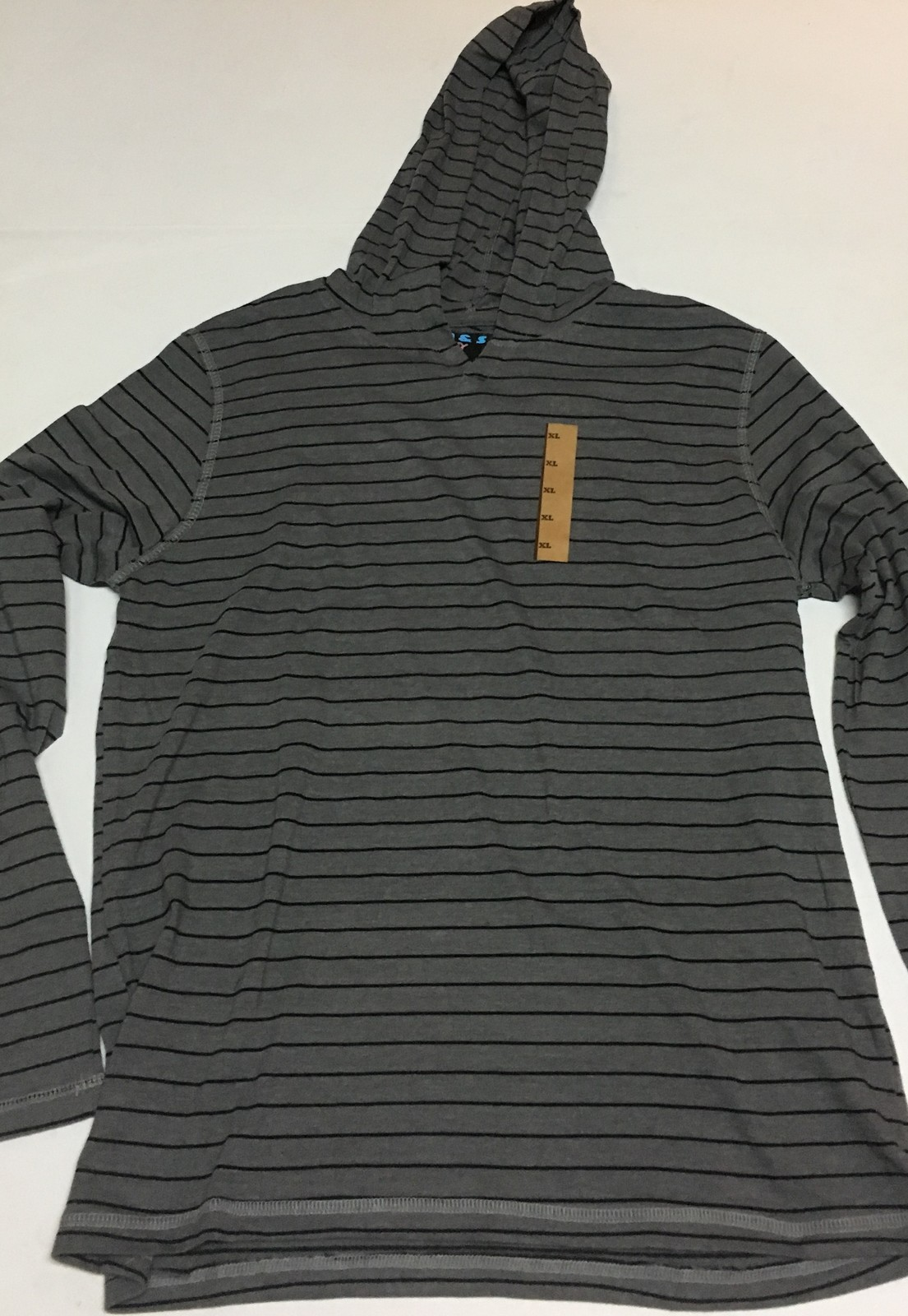 M&S Light Weight Hoodie Jersey Shirt Gray & Black Stripes NWT Sz XL
