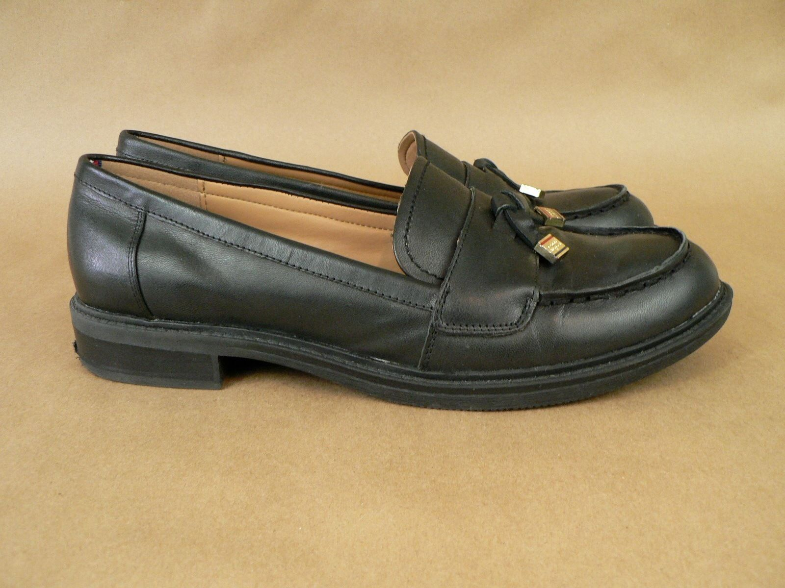 a0cf6e54eb5d Tommy Hilfiger Womens Black Leather Slip On Loafers Shoes Size 10M Gold  Tassels