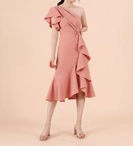 One Shoulder Midi Formal Dress Outfit Summer Wedding Bridesmaid Chiffon Dress  image 8