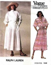 Vintage 1985 Misses' TOP & SKIRT a Ralph Lauren Vogue Pattern 1548-v Siz... - $15.00