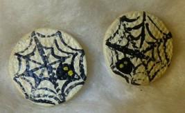 Vintage Halloween Cobweb Spider Pierced Earrings Signed PK Hand Painted - $10.00
