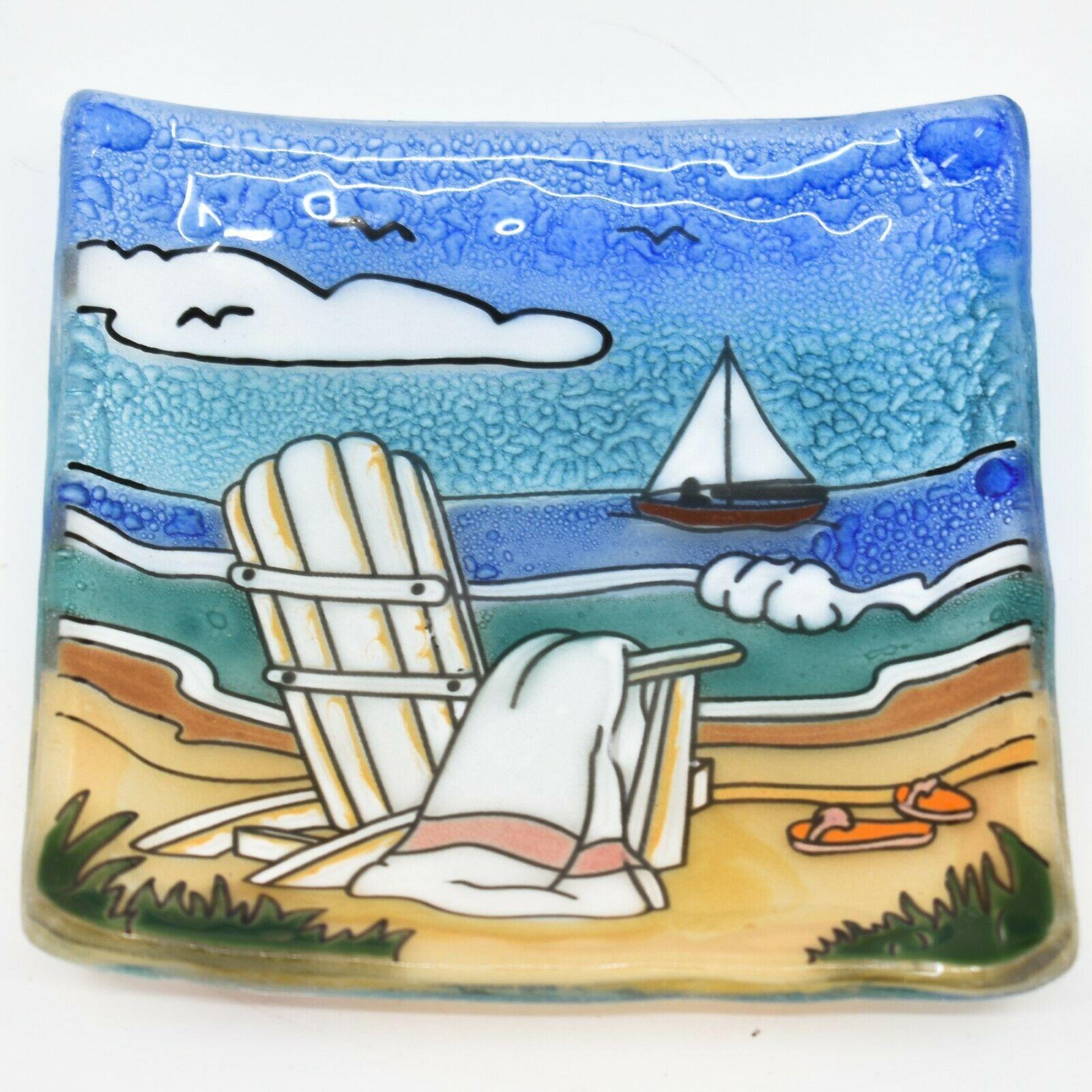 Fused Art Glass Adirondack Chair Summer Beach Design Soap Dish Handmade Ecuador