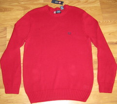New Chaps Knit Sweater Cotton Red 100% Cotton Large S Small Nwt $69.50 Knitted - $28.04