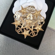 AUTHENTIC CHANEL CRYSTAL CC STAR RHINETONE GOLD BROOCH PIN MINT RARE image 4