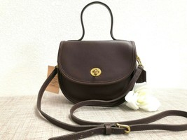 Rare Vintage Coach Bella Court Bag, Top Handle Conv Mahogany Leather - #... - $188.09
