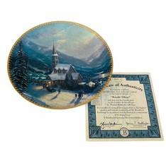 Thomas Kinkade Collectors Plate Moonlit Village Christmas 4 Bradford Exc... - $28.98