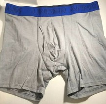 Under Armour Fitted Lg Underwear Boxerjocks Grey with/Blue Band - $23.09