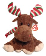 "TY Pluffies Merry Moose Brown Stuffed Animal Bean Bag Toy Red Green Antlers 10"" - $18.95"