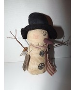 Honey & Me Primitive Teastained Plush Snowman Garth Wire Arms Black Top ... - $15.45