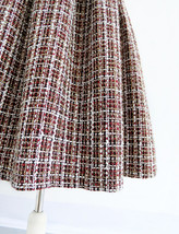 Black Winter Tweed Skirt Outfit A-line High Waisted Pleated Tweed Skirt image 9