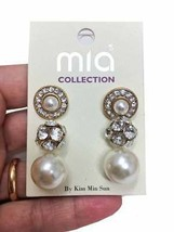 3 Pairs Stud Earrings, Faux Pearls & Clear Crystals In Gold Tone, Casual/Evening - $11.40