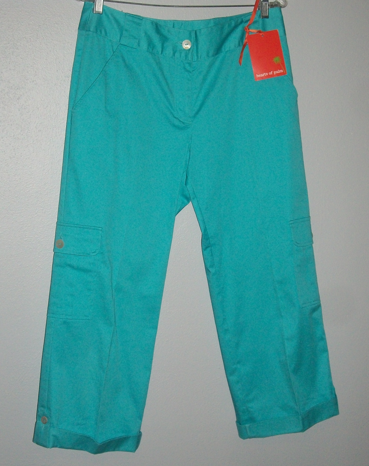 Primary image for HEARTS OF PALM TURQUOISE CAPRI PANTS NWT! Sz 8