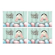 InterestPrint Happy Easter Cute Bunny and Easter Eggs On Blue Wooden Was... - $30.68