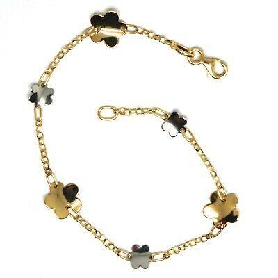 Bracelet Yellow White Gold 18K 750, Flowers, Daisy Woven Trellis 18 CM
