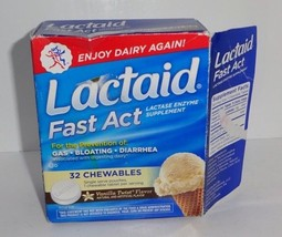 Lactaid Fast Act Lactase Enzyme Supplement Gas Bloating Diarrhea Vanilla... - $4.70