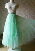 Women Tiered Long Tulle Skirt Mint Green Long Layered Tulle Skirt image 1