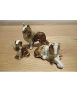 set of 3 ceramic collies, porcelain collie dog, collie dog figurine, cer... - $25.00