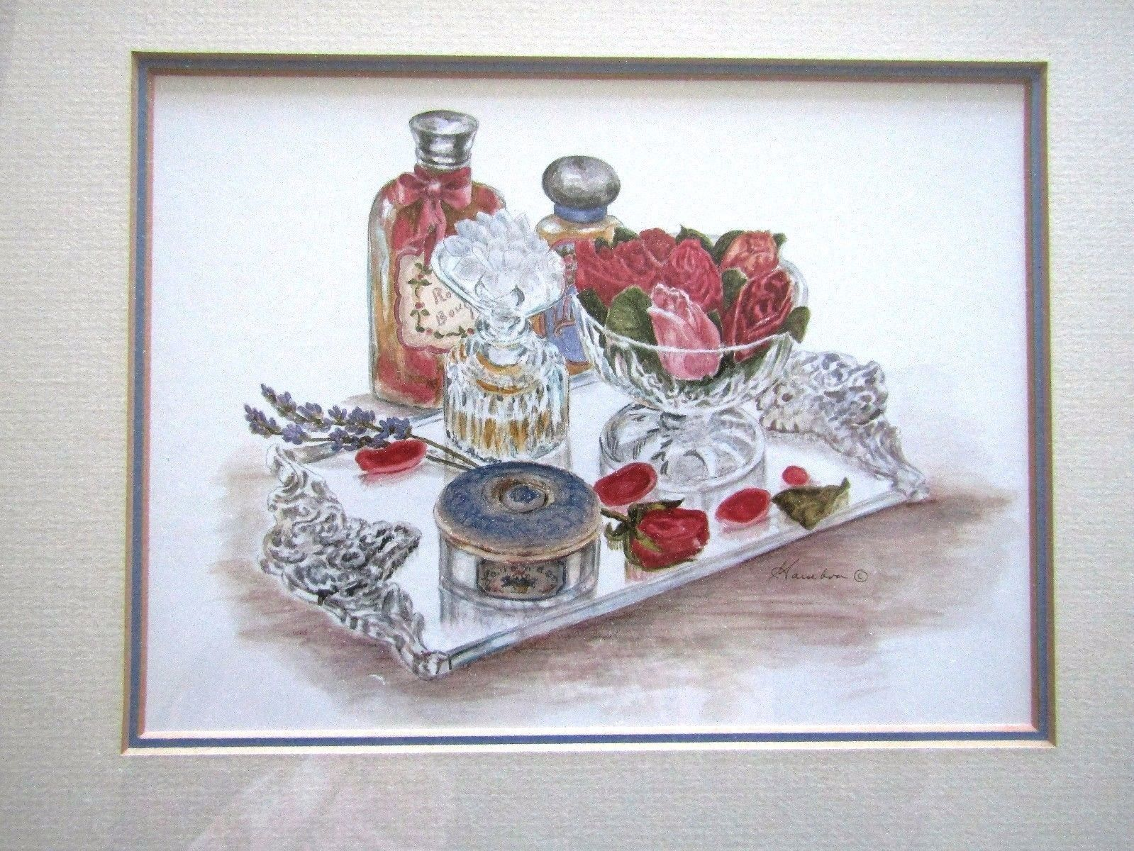 Perfume Bottle Vignette Print~Shabby Chic~Framed~Matted~Print~Vintage~#6 of 6