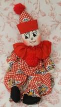 "Vintage Handmade Sock Clown Red White Floral Checkered 20"" - $31.18"