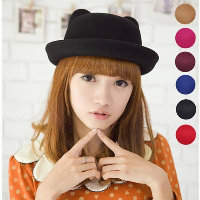 Kawaii Clothing Ulzzang Harajuku Hat Cap Ears Cat Japan Korea Black Beanie Kitty - $11.50