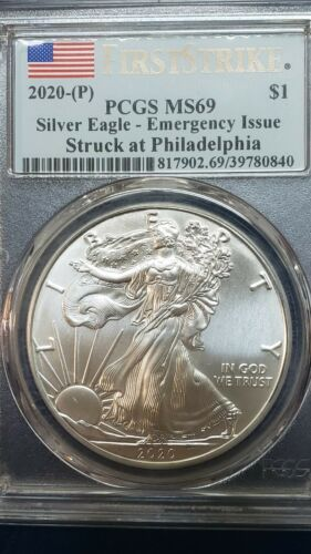 2020 (P) 1 Ounce Silver American Eagle PCGS MS 69 FS Emergency Issue Coin