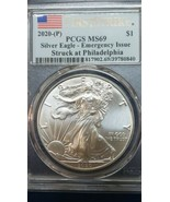 2020 (P) 1 Ounce Silver American Eagle PCGS MS 69 FS Emergency Issue Coin - $56.09