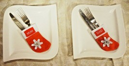 PERSONALISED CHRISTMAS TABLE SETTING CUTLERY HOLDERS EMBROIDERED  XMAS S... - $3.85
