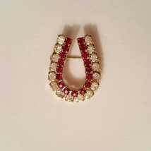 Vintage Red and Clear Crystal Rhinestones Horseshoe Shaped Pin  - $0.00