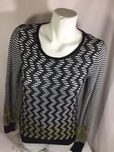Liz Claiborne Women Geometric Blouse Black,Yellow,WhiteScoop Neck Size M... - $14.03