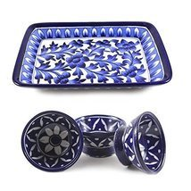 Blue Art Pottery Handmade Crafted Ceramic Serving Tray and 3 Bowl Combo Set - £71.02 GBP