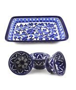 Blue Art Pottery Handmade Crafted Ceramic Serving Tray and 3 Bowl Combo Set - £71.69 GBP