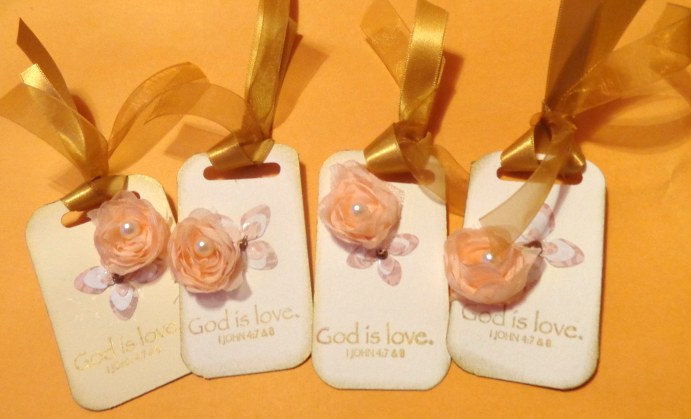 "Set of 3, ""God IS LOVE"" scripture stamped Tags with flowers and gold ribbon UPDA"