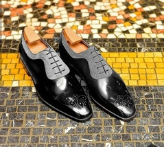 Handmade Black and Gray Leather & Suede lace Up Fashion Brogue Shoes For... - $140.00