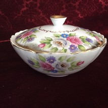 """BEAUTIFUL VINTAGE BOUQUET BY SHAFFORD COVERED DISH WITH LID 6"""" WIDE # 31... - $19.64"""