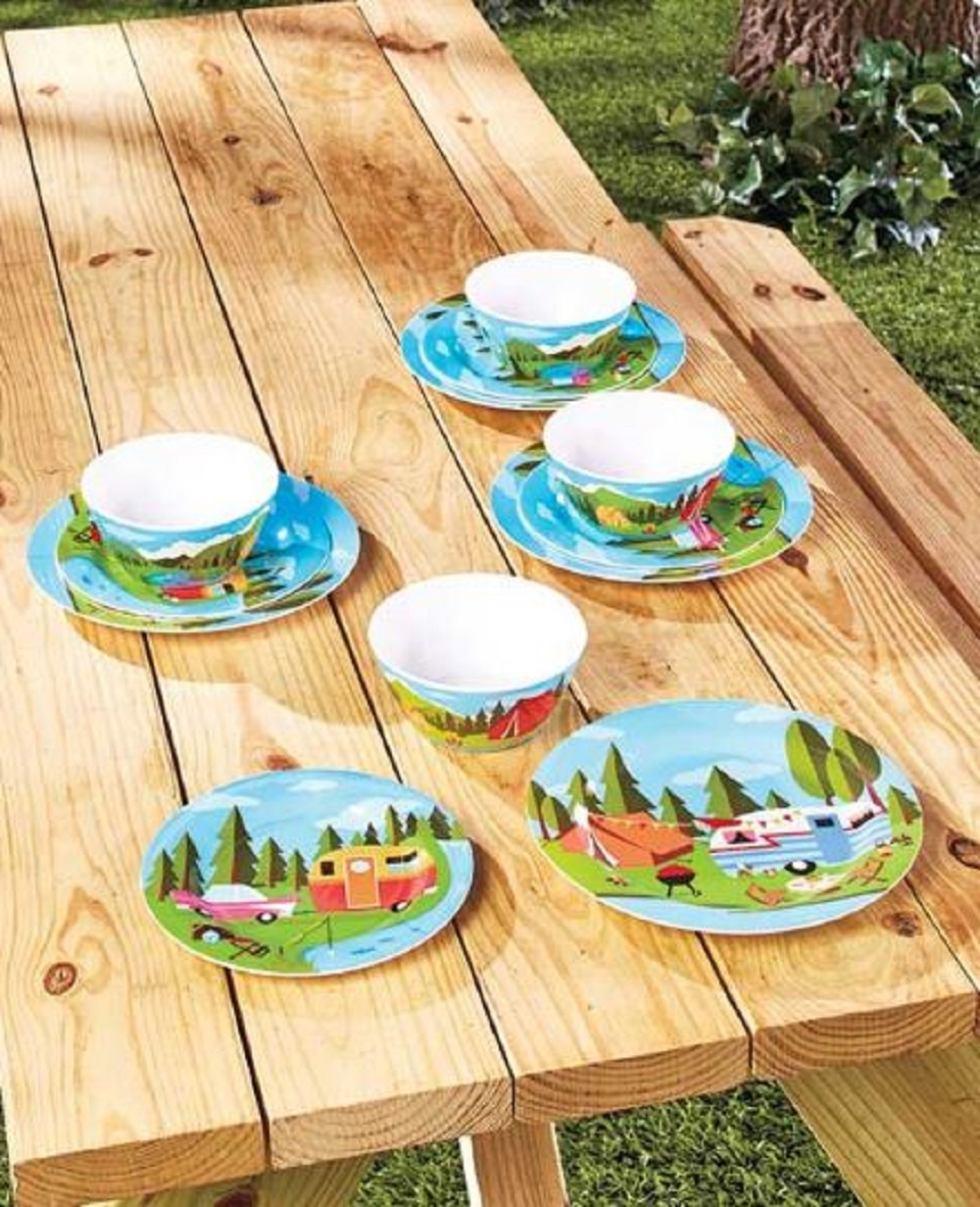 Happy Camper Retro Dish Set Plates Bowls Camping Design Matching Trays Melamine