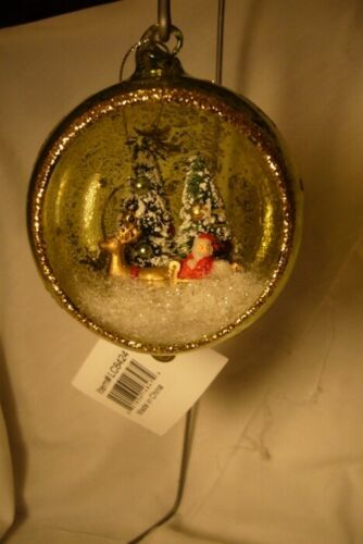 Bethany Lowe Santa's Visit Glass Indent Ornament  green and Gold
